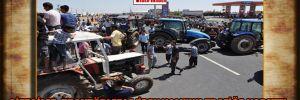 Çiftçiler, traktörlerle 'İpek Yolu'nu trafiğe kapattı