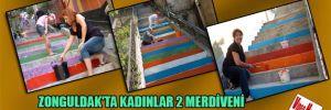 Zonguldak'ta kadınlar 2 merdiveni gökkuşağı renklerine boyadı
