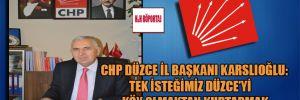CHP Düzce İl Başkanı Karslıoğlu: Tek isteğimiz Düzce'yi köy olmaktan kurtarmak