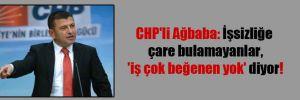 CHP'li Ağbaba: İşsizliğe çare bulamayanlar, 'iş çok beğenen yok' diyor!
