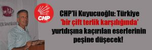 CHP'li Kuyucuoğlu: Türkiye 'bir çift terlik karşılığında' yurtdışına kaçırılan eserlerinin peşine düşecek!