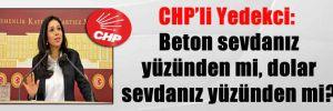CHP'li Yedekci: Beton sevdanız yüzünden mi, dolar sevdanız yüzünden mi?