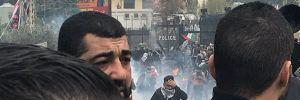 Beyrut'ta protestocular ABD Büyükelçiliği'ne girmek istedi