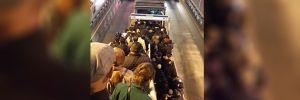 Yenibosna metrobüs durağında kalabalık çilesi