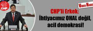 CHP'li Erkek: İhtiyacımız OHAL değil, acil demokrasi!