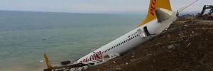 Havalimanı uçuş trafiğine kapatıldı, uçak için kurtarma operasyonu başladı