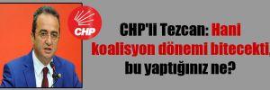 CHP'li Tezcan: Hani koalisyon dönemi bitecekti, bu yaptığınız ne?