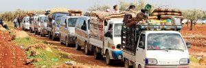 Afrinli siviller, terör baskısından konvoy halinde kaçıyor