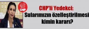 CHP'li Yedekci: Sularımızın özelleştirilmesi kimin kararı?