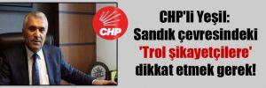 CHP'li Yeşil: Sandık çevresindeki 'Trol şikayetçilere' dikkat etmek gerek!