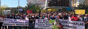 Kepenk kapatan tekel bayileri Bakırköy Meydanı'nda açıklama yaptı