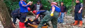 Sel nedeniyle ormanda mahsur kaldı, AFAD ve itfaiye kurtardı