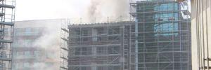 Maslak'ta lüks site inşaatında yangın