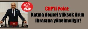 CHP'li Polat: Katma değeri yüksek ürün ihracına yönelmeliyiz!