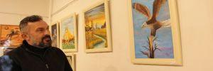 İnşaat işçisi resim sergisi açtı