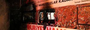 İstanbul'da CHP'nin seçim aracı yandı!