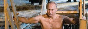 Putin eksi 9 derece havada buz gibi suya girdi