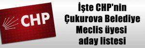 İşte CHP'nin Çukurova Belediye Meclis üyesi aday listesi