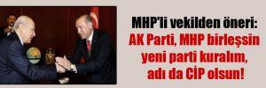 MHP'li vekilden öneri: AK Parti, MHP birleşsin yeni parti kuralım, adı da CİP olsun!