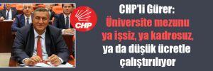 CHP'li Gürer: Üniversite mezunu ya işsiz, ya kadrosuz, ya düşük ücretle çalıştırılıyor