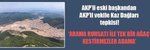 AKP'li eski başkandan AKP'li vekile Kaz Dağları tepkisi!