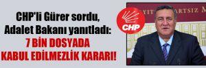 CHP'li Gürer sordu, Adalet Bakanı yanıtladı: 7 bin dosyada kabul edilmezlik kararı!