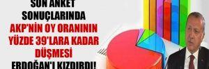Son anket sonuçlarında AKP'nin oy oranının yüzde 39'lara kadar düşmesi Erdoğan'ı kızdırdı!