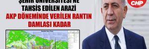 CHP'li Tekin: Şehir Üniversitesi'ne tahsis edilen arazi AKP döneminde verilen rantın damlası kadar