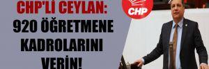 CHP'li Ceylan: 920 öğretmene kadrolarını verin!