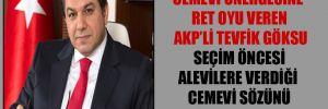 Cemevi önergesine ret oyu veren AKP'li Tevfik Göksu seçim öncesi Alevilere verdiği cemevi sözünü tutmamış