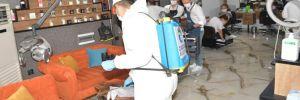 Çukurova'da berberler ve kuaförler dezenfekte edildi