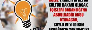 Kulis: Fahrettin Altun Kültür Bakanı olacak, İçişleri Bakanlığı'na Abdulkadir Aksu atanacak, Soylu ve Yıldırım Erdoğan'ın yardımcısı olacak