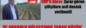 CHP'li Gürer: Zarar gören çiftçilere acil destek verilmeli!
