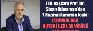 TTB Başkanı Prof. Dr. Sinan Adıyaman'dan 1 Haziran kararına tepki: İstanbul'dan bütün illere bu virüsü taşıyacaklar