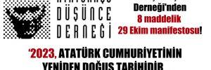 Atatürkçü Düşünce Derneği'nden 8 maddelik 29 Ekim manifestosu!