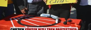 CHP'den Yüksek Hızlı Tren protestosu: Oyuncak trenle kurdela kestiler
