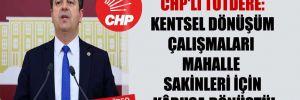 CHP'li Tutdere: Kentsel dönüşüm çalışmaları mahalle sakinleri için kâbusa dönüştü!