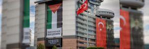 CHP Genel Merkezi'nde dev Filistin bayrağı
