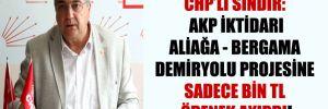 CHP'li Sındır: AKP iktidarı Aliağa – Bergama Demiryolu projesine sadece bin TL ödenek ayırdı!