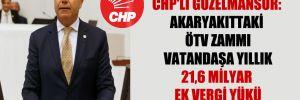 CHP'li Güzelmansur: Akaryakıttaki ÖTV zammı vatandaşa yıllık 21,6 milyar ek vergi yükü demek!