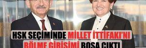 HSK seçiminde Millet İttifakı'nı bölme girişimi boşa çıktı