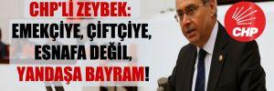 CHP'li Zeybek: Emekçiye, çiftçiye, esnafa değil, yandaşa bayram!