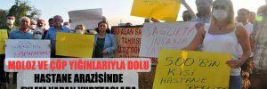 Moloz ve çöp yığınlarıyla dolu hastane arazisinde eylem yapan yurttaşlara CHP'li Şevkin'den destek!