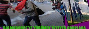Dolmabahçe'ye inmeye çalışan gruba polis müdahalesi