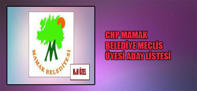 CHP Mamak Belediye Meclis Üyesi aday listesi