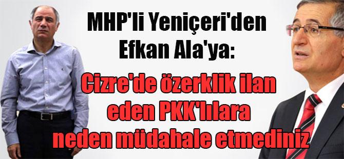 MHP'li Yeniçeri'den Efkan Ala'ya: Cizre'de özerklik ilan eden PKK'lılara neden müdahale etmediniz