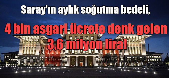 Saray'ın aylık soğutma bedeli, 4 bin asgari ücrete denk gelen 3,6 milyon lira!