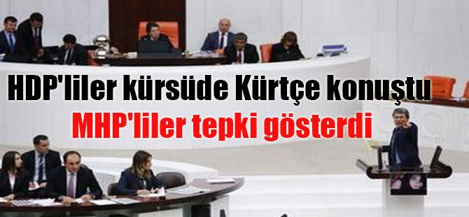 HDP'liler kürsüde Kürtçe konuştu MHP'liler tepki gösterdi