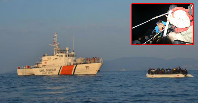 Motoru bozulan lastik botlardaki 78 kaçak kurtarıldı