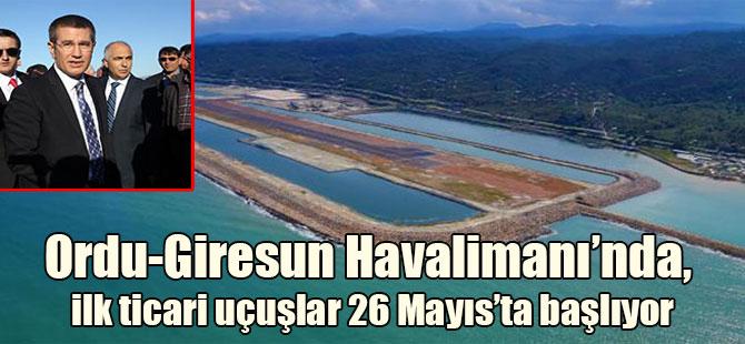 Ordu-Giresun Havalimanı'nda, ilk ticari uçuşlar 26 Mayıs'ta başlıyor